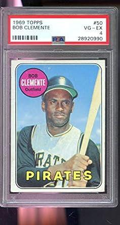 Amazoncom 1969 Topps 50 Roberto Clemente Bob Pirates Vg