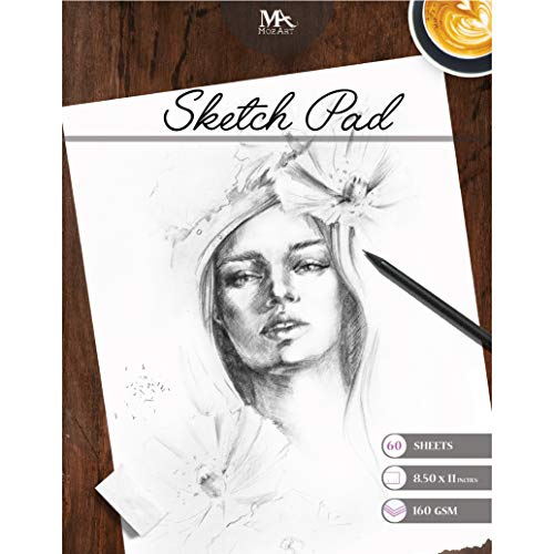 (Sketch Pad - 60 Sheets, 8.5 x 11 Inches, 160gsm - Premium Quality, Smooth, Thick Drawing Paper for Your Art Supplies - Perfect for Sketching, Stenciling, Art Journal and More - Mozart Supplies)