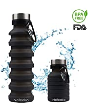 Nefeeko Faltbare Wasserflaschen, 550ML Faltbare Auslaufsicher Sportflasche, BPA Frei Silikon Flasche Wiederverwendbar Trinkflasche für Reise Camping Radfahren Klettern mit Karabinerhaken