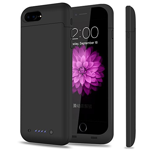iPhone 8 Plus 7 Plus Battery Case, TQTHL 7000mAh Rechargeable External Battery Portable Power Charger Protective Charging Case for iPhone 7 Plus/8 Plus 5.5 inch Extended Battery Power Bank-Black