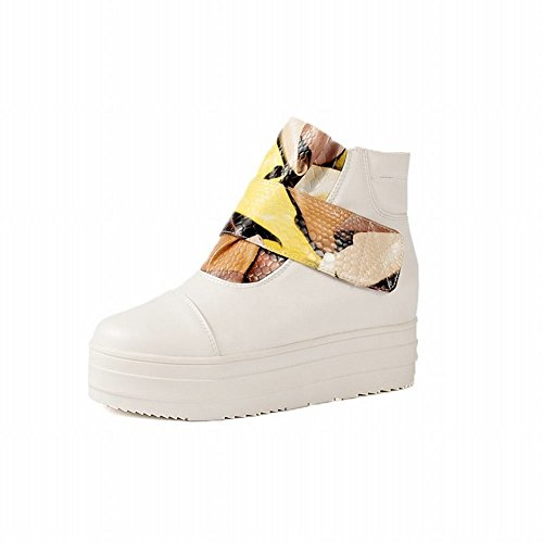 Latasa Womens Fashion Graphic Strap Hook-and-look Leopard Print Velvet Lining Ankle-high Platform Boots Yellow rGIz9XT