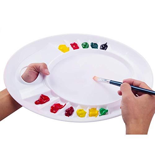 MEEDEN Paint Palette- Ellipse Artist Peel-Off Palette, Plastic Paint Tray Palette with a Thumb Hole, 13 Wells
