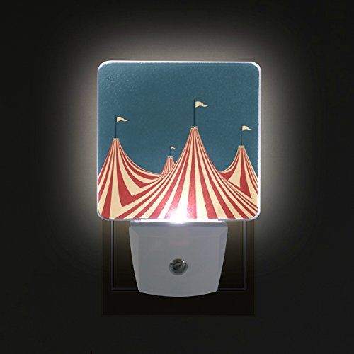 Circus Lamp - LEDVIE Large Top Circus Tent ¸±±¾ Plug in Dusk to Dawn Light Sensor LED Night Light Wall Light for Bedroom, Baby's Kids Room,Hallway, Stairs, Energy Efficient