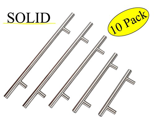 Bathroom Vanity Handles,Hole Distance 10IN(256mm),Overall Length 12-4/5IN(320mm) Drawer Pulls For Dresser and Desk Euro Style Replacement Brushed Nickel Drawer Pulls,10 PCS,SOLID-CL-149BN256