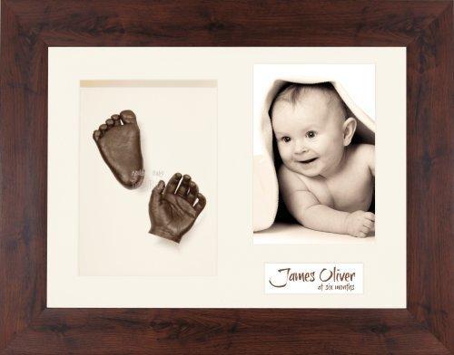 BabyRice Baby Casting Kit / 11.5x8.5'' Mahogany Effect Wood Frame / Cream 3 Hole Mount / Cream Backing / Bronze Paint