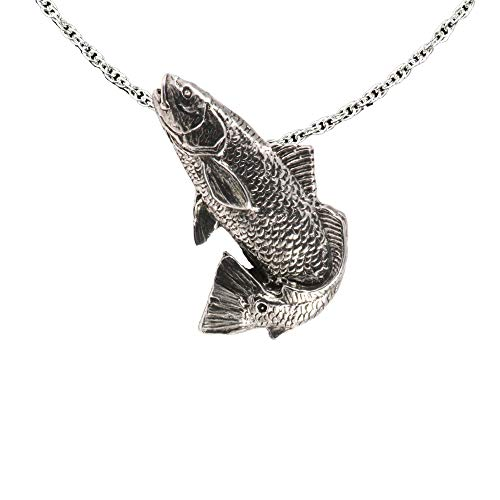 Redfish Rockfish Jumping Pewter Pendant, Necklace, Jewelry, -
