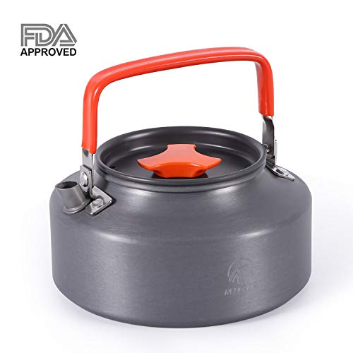 REDCAMP 1.1L Outdoor Camping Kettle, Aluminum Water Pot with Carrying Bag, Compact Lightweight Tea Kettle