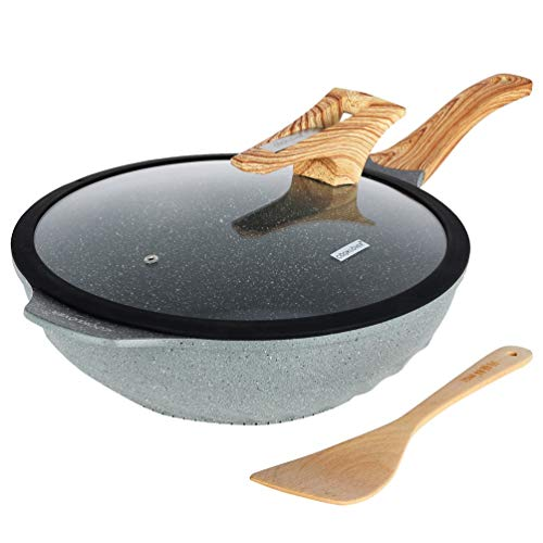 Chinese Wok Nonstick Die-casting Aluminum Dishwasher Safe Scratch Resistant Induction Woks and Stir Fry Pan with Glass Lid 12.6Inch,5.9Liter,5.6Pound - Grey
