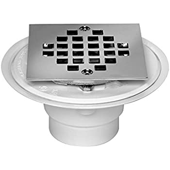 oatey pvc shower drain with snaptite square top stainless steel strainer for tile shower bases 2inch or 3inch