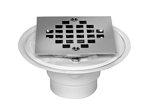 Oatey 42237 PVC Shower Drain with Snap-Tite Square Top Stainless Steel Strainer for Tile Shower Bases, 2-Inch or 3-Inch