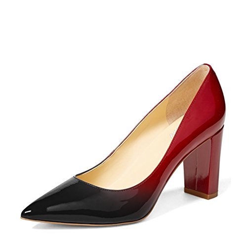 YDN Women's Classic Pointy Toe OL Pumps Chunky High Heel Slip-on Patent Leather Shoes Black-Red 8 Chunky Leather Pumps