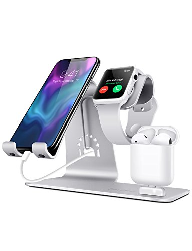 Bestand Charger Dock for iPhone,Desktop Stand for Charging,Charging Station for Apple Watch/iPhone X/8 Plus/8/7 Plus/iPad, Grey … (Silver)
