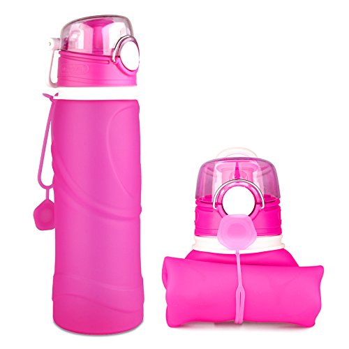 Waveline Collapsible Water Bottle Silicon Collapse BAP Free Roll Up Leakproof 26oz Water Bottle For Travel Sports Bike, Red, 750ml