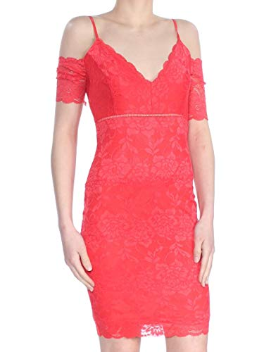 (GUESS Womens Red Lace Body Con Party Dress XS)