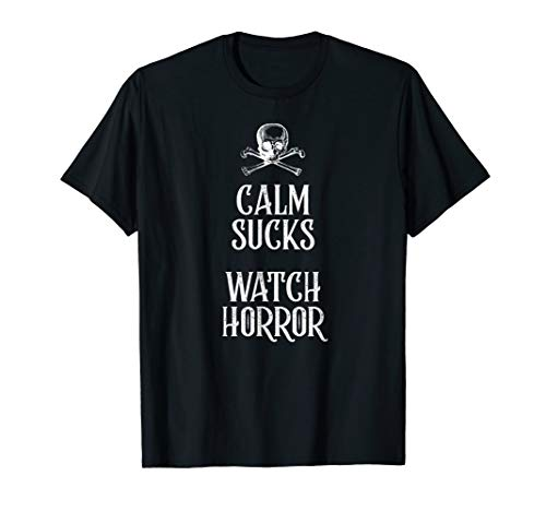 Funny Calm Sucks Watch Horror Goth Skull T-Shirt Men, -