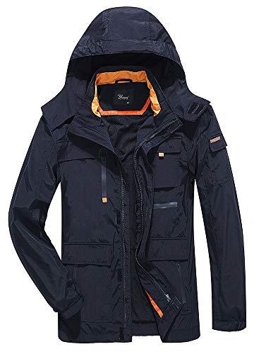 Yozai Jacket for Men, Men's Outdoor Sports Hooded Windproof Jacket Waterproof Rain Coat Black L by Yozai (Image #7)
