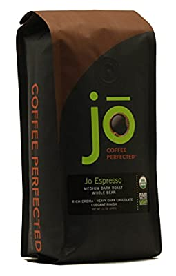 JO ESPRESSO: 12 oz, Medium Dark Roast, Whole Bean Organic Arabica Espresso Coffee, USDA Certified Organic Espresso, NON-GMO, Fair Trade Certified, Gourmet Espresso Beans from the Jo Coffee Collection