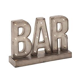 Deco 79 48648 Superb Metal Led Bar Sign, 16″ W x 12″ H