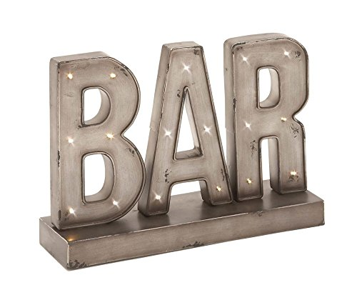 "Deco 79 48648 Superb Metal Led Bar Sign, 16"" W x 12"" H"