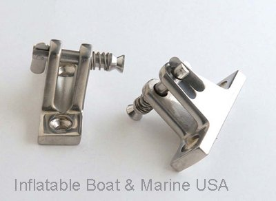 Inflatable Boat & Marine USA Bimini Top Deck Hinge - Angled Fitting/Hardware- Removable Pin Stainless Steel - 2 Each (Pair)