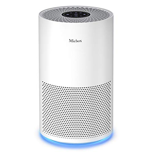 Micbox Air Purifier with Activated Carbon Filter for Home Allergies and Pets, 4 in 1 Ture HEPA Air Purifier with Quiet Purifying System in Bedroom, No Ozone, 3-Year Warranty Available for California