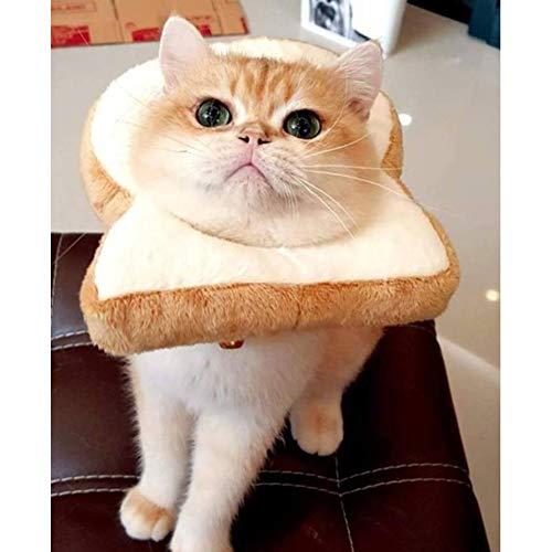 Studyset Pet Costume Soft Bread Slice Collar, Cute Cartoon Toast Shape Pet Headgear for Cat Dressing Up Props Toast M