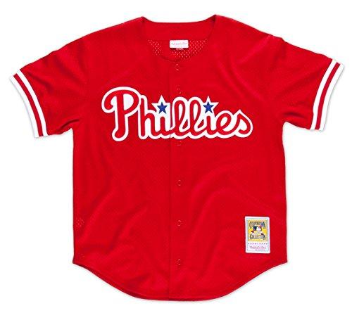 Philadelphia Phillies Spring Training - Mitchell & Ness John Kruk Philadelphia Phillies Authentic Button 1993 BP Jersey