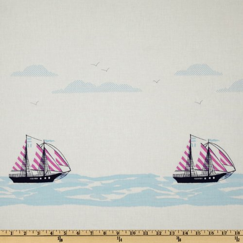 Michael Miller Out To Sea Sail Away Double Border Stripe Bloom Pink Fabric By The Yard