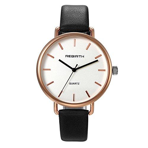 Bracelet White Watch Ladies (Ladies Fashion Bracelet Watch Black Slim Leather Strap Simple Japan Quartz Dress Wristwatch for Women)
