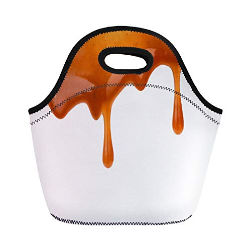 (Semtomn Lunch Tote Bag Brown Toffee Sweet Caramel Sauce Drip Syrup Calories Candy Reusable Neoprene Insulated Thermal Outdoor Picnic Lunchbox for Men Women)