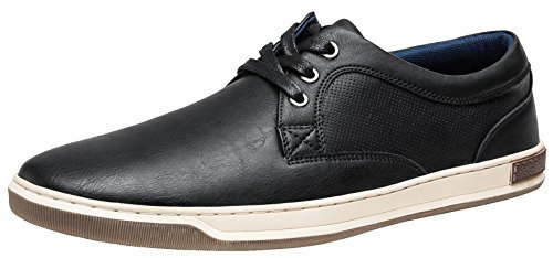 JOUSEN Men's Fashion Sneakers 3 Eyelets Simple Style Casual Shoes (11,Black)