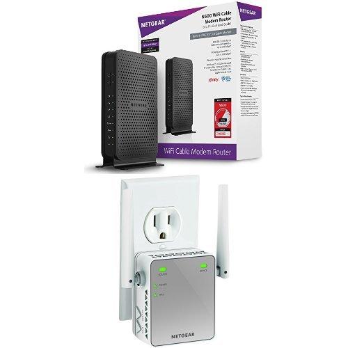 NETGEAR N600 Wi Fi DOCSIS 3.0 Cable Modem Router (C3700) Bundle with N300 WiFi Range Extender, Essentials Edition (EX2700)