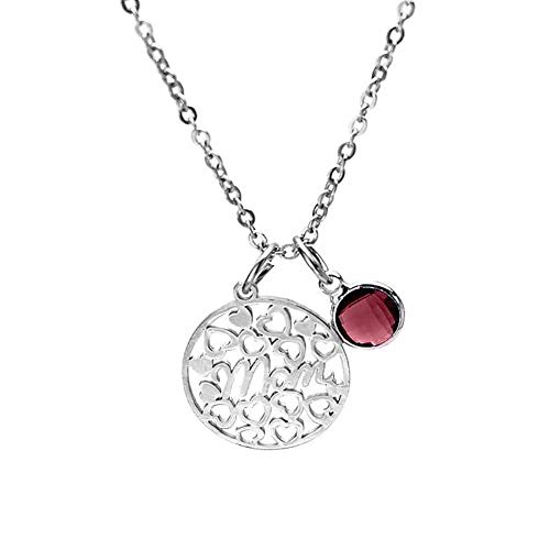 smallwoodi Exquisite Stylish Pendant,Stainless Steel Hollow Round Birthstone Inlay Pendant Necklace Mothers Day Gift for Women Jewelry October