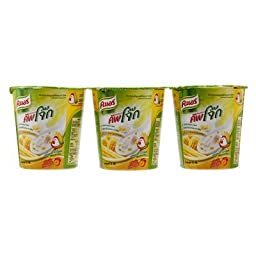 Knorr Cup Jok Instant Rice Porridge Chicken and Corn Flavor Cup 35g. (Pack of 3)