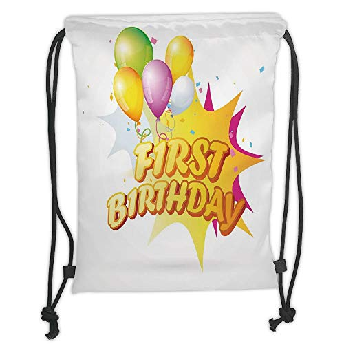 (New Fashion Gym Drawstring Backpacks Bags,1st Birthday Decorations,Toddler First Party Celebration with Quote and Balloons,Yellow and Hot Pink Soft Satin,Adjustable String)