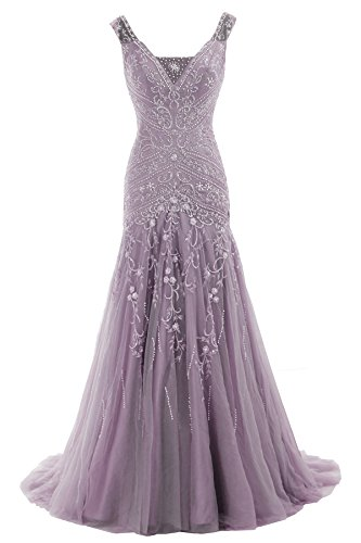 COCOMELODY Trumpet V Neck Long Beaded Prom Evening Dress Bmmc0009 Purple 10 by COCOMELODY