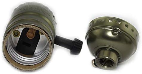 Maxmoral 2pcs E26//E27 Lamp Holder with Turn Knob Edison Screw Bulb Holder Lighting Retro Fittings Accessories Aluminum Housing Socket Lamp Base Silver