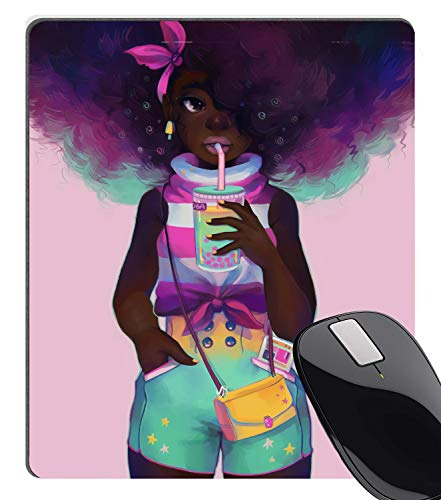 Wknoon Gaming Mouse Pad Custom Design, African Girl with Purple Colored Hair Hairstyle Painting Art Mouse Pads 9.5 X 7.9 Inch (240mmX200mmX3mm) - Girl Art Mouse Pad