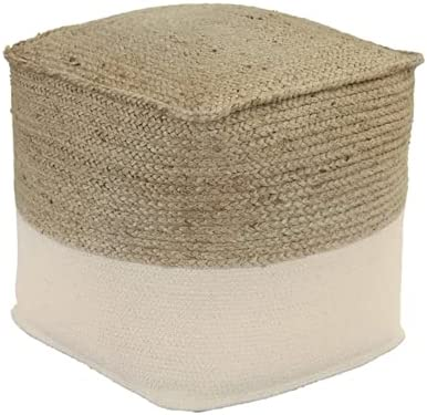 Signature Design by Ashley Sweed Valley Handmade Pouf 17x17x17 Inches, Light Brown & White