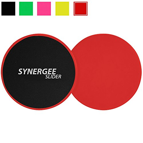 Synergee Rogue Red Gliding Discs Core Sliders. Dual Sided Use on Carpet or Hardwood Floors. Abdominal Exercise Equipment -