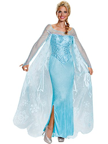 Disney Disguise Women's Elsa Prestige Adult Costume, Blue, Small]()