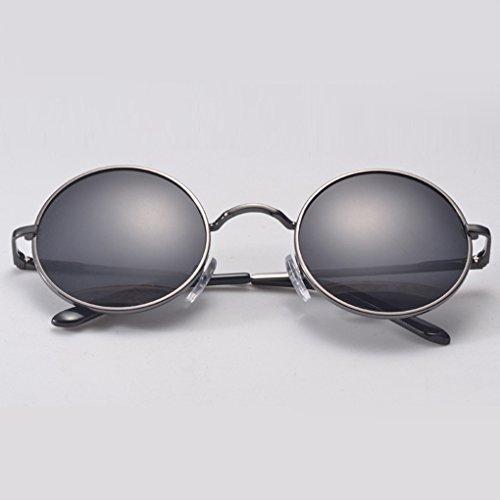 noir Hommes Femmes de Outdoor QHGstore Mirrored Vintage Gris Lunettes Lunettes soleil rondes Lunettes de sport RfAH6q