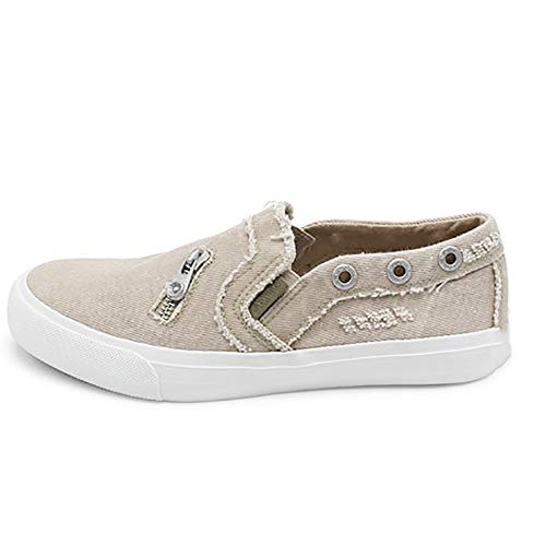 SNIDEL Fashion Canvas Sneakers for Women Casual Loafers Slip on Flats Distressed Boat Walking Shoes Beige 10 B (M) ()