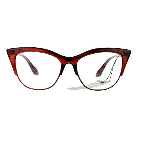 SA106 Womens High Point Squared Half Rim Look Cat Eye Glasses Brown -