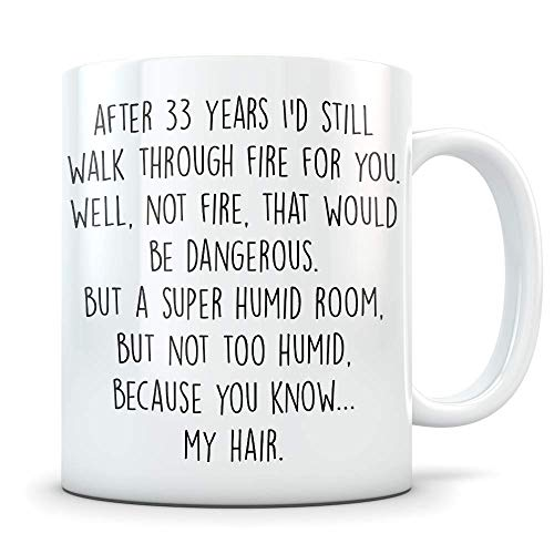 33rd Anniversary Gift for Couple - Funny 33 Year Wedding Anniversary for Men and Women - Him and Hers Marriage Coffee Mug Set I Love You for Parents or Friends