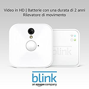 Sistema di telecamere per la sicurezza domestica Blink, per interni, con rilevatore di movimento, video in HD, batterie con una durata di 2 anni e archiviazione sul cloud - Sistema a 1 telecamera