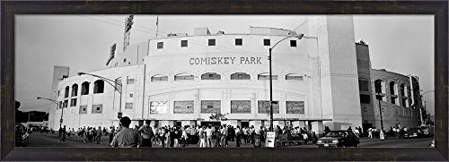 People outside a baseball park, old Comiskey Park, Chicago, Cook County, Illinois, USA by Panoramic Images Framed Art Print Wall Picture, Espresso Brown Frame, 38 x 14 - Comiskey Framed Park Photo