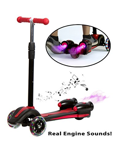 - RAD RACERS 3 Wheeled Scooter For Kids with Rocket Streaming Action, LED Lights, & Racing Sounds, Lean to Turn & Adjustable Height (Red)