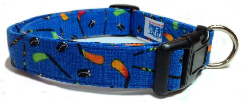 Adjustable Dog Collar in Blue with Hockey Sticks and Pucks (U.S.A. Made)