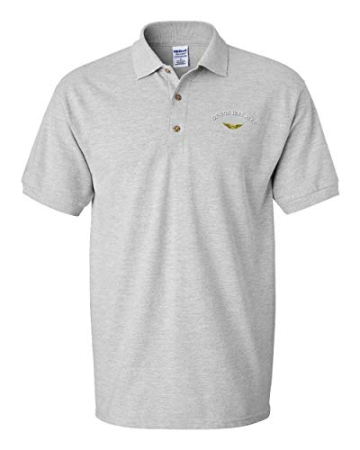 Custom Polo Shirt Army Pilot Embroidery Design Cotton Golf Shirt for Men Oxford Grey Large Personalized Text Here